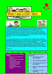 English Worksheets: WHEN I WAS A CHILD ....