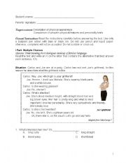 English Worksheets: Test about people�s description and comparison
