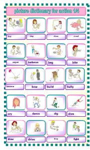 English Worksheets: picture dictionary for action verbs