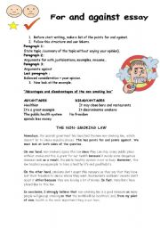 English Worksheet: Advantages and disadvantages of the non-smoking law