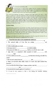 English Worksheets: Costa Rican Beverages