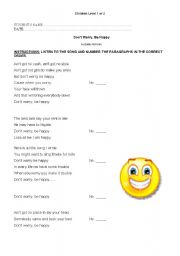 English Worksheet: Song ´Don´t worry be happy´