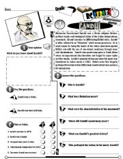 English Worksheets: RC Series Famous People Edition_01 Gandhi (Fully Editable)