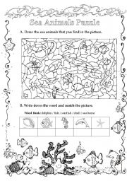 English Worksheet: Sea Animals Puzzle