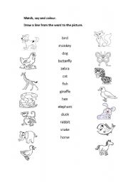English Worksheets: matchin animals