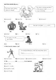 English Worksheet: 8th Grade SBS test- 20 Questions