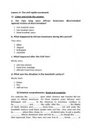 English Worksheets: M.L King A Historical perspective