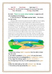 English Worksheets: the rabbit and the turtle
