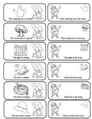 English Worksheet: This, That, These, Those Spring Garden Matching Cards