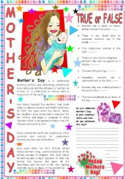 English Worksheet: Mother´s Day: a text with comprehension question and a writing activity