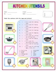23 kitchen utensils and appliances worksheet just b cause. Black Bedroom Furniture Sets. Home Design Ideas