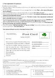 English Worksheets: post card