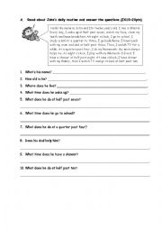 English Worksheets: Reading About Daily Routines