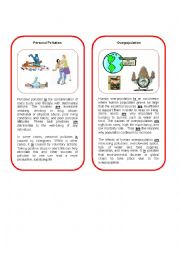 English Worksheet: Environmental Threat 8  ( personal pollution and overpopulation)