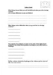 English teaching worksheets: Culture shock