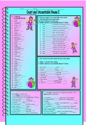 English Worksheet: Count and Uncountable Nouns