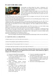 English Worksheets: It�s easier to talk online: youths- Improved