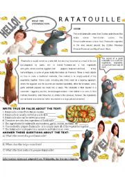 esl worksheets for beginners ratatouille. Black Bedroom Furniture Sets. Home Design Ideas