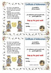 English Worksheets: a cute end-of-schoolyear certificate