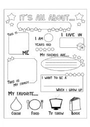 Printables All About Me Worksheet Middle School english teaching worksheets all about me me
