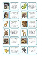 English Worksheet: Animal description domino