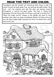 English Worksheets: READ THE TEXT AND COLOR