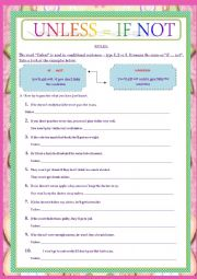 English Worksheet: IF NOT VS UNLESS - CONDITIONALS