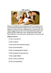 English Worksheets: Asking questions with WHO