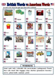 English Worksheet: British English vs American English
