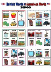 English Worksheets: BINGO (British English vs American English) - 24 different cards