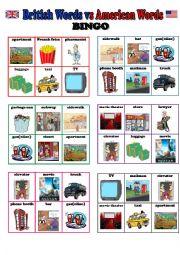 English Worksheet: BINGO (British English vs American English) - 24 different cards