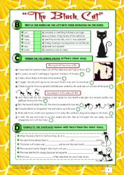 English Worksheet: TEST The Black Cat + Food + At a Restaurant (8th grade) 2/2 + correction