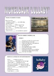 English Worksheet: Nickelback ´Lullaby´