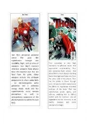 English Worksheet: Superheroes 2 ( Iron Man and Thor)