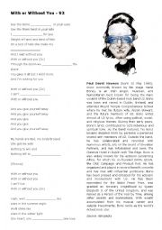 English Worksheets: U2 - With or Without You