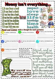 English Worksheets: money isn�t everything
