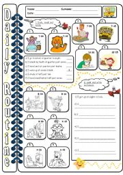 English Worksheets: Daily routine - WS2