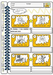 English Worksheets: Daily routine - WS3