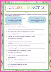 English Worksheet: IF NOT VS UNLESS - CONDITIONALS (TYPE 2)