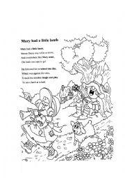 English Worksheet: Nursery Rhyme Mary Had A Little Lamb