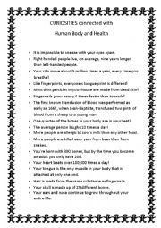 English Worksheets: Human Body and Health Curiosities