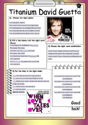 English Worksheet: Song Worksheet Titanium by David Guetta
