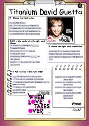 English Worksheets: Song Worksheet Titanium by David Guetta