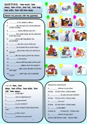 English Worksheets: HOW MUCH, HOW MANY, HOW FAR, HOW OFTEN, HOW LONG ETC.