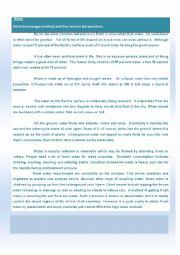 English Worksheet: Water