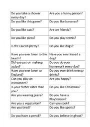 English Worksheets: question game cards no yes