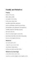 English worksheet: Relatives