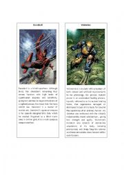 English Worksheet: Superheroes 4 ( Daredevil and Wolverine)