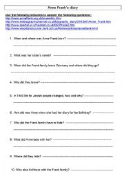 english worksheet anne frank s diary. Black Bedroom Furniture Sets. Home Design Ideas