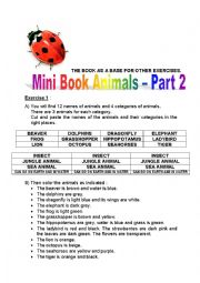 English worksheet: mini book animals 2 (insects, jungle animals, sea animals, can go on earth and in water) - part 1